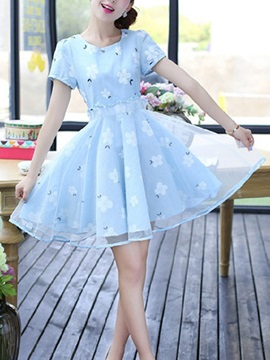Sweet Floral Print Mesh Patchwork Skater Dress