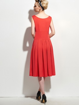 Retro Solid Color Pleated Skater Dress