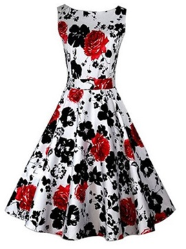 Floral Print Sleeveless Vintage Dress