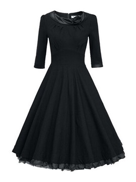 Solid Vintage Flapper Skater Dress