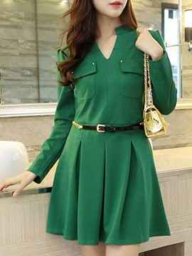 Chic Long Sleeve Belt Skater Dress
