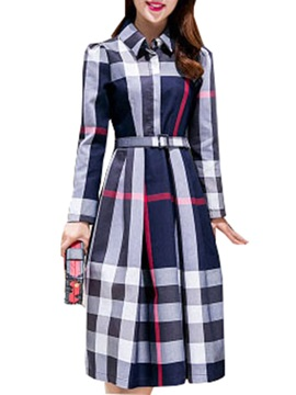 Chic Plaid Turn Down Collar Sleeve Skater Dress