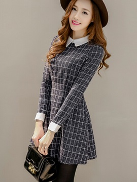 Plaid Contrast Color Long Sleeve Skater Dress