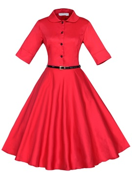 Chic Turn Down Collar Skater Dress with Buttons