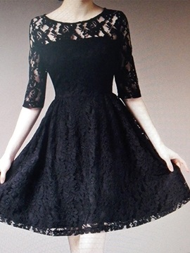 Solid Half Sleeve Lace Dress