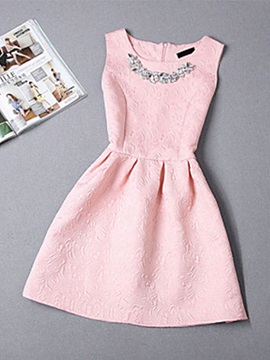 Sleeveless Round Neck Women's Skater Dress