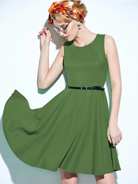 Round Neck Sleeveless Belt Skater Dress