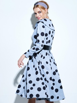 Vintage Polka Dots Long Sleeve Skater Dress