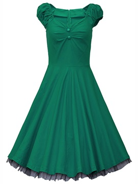 Vintage  V Neck Sleeveless Skater Dress