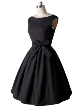 Solid Color Sleeveless Skater Dress with Bowknot