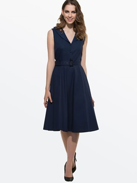 Solid Color Lapel Sleeveless Skater Dress with Belt