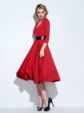 3/4 Sleeve Polka Dot Skater Dress