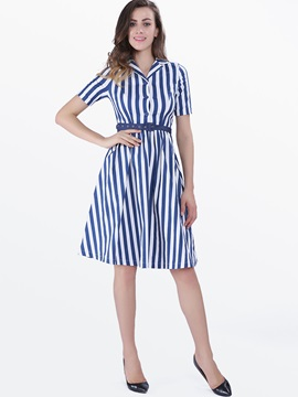 Stripe Contrast Color Short Sleeve Skater Dress