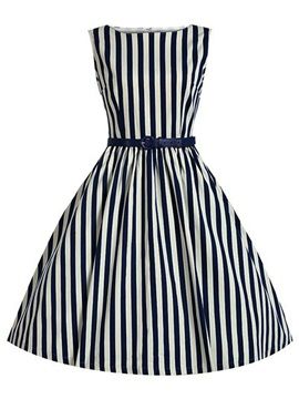 Stripe Sleeveless Slim Skater Dress