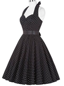 Polka Dots Halter Backless Lace-Up Skater Dress