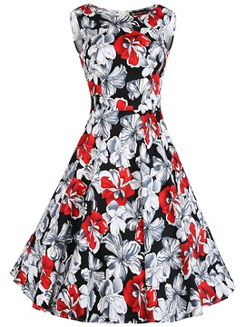 Vintage Print Slash Neck Sleeveless Skater Dress