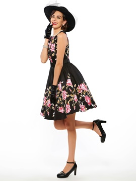 Chic Floral Print Sleeveless Round Neck Skater Dress