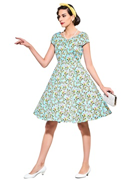 Polka Dots Short Sleeve A-Line Day Dress