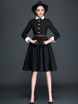 Polo Neck Single-Breasted Button Skater Dress