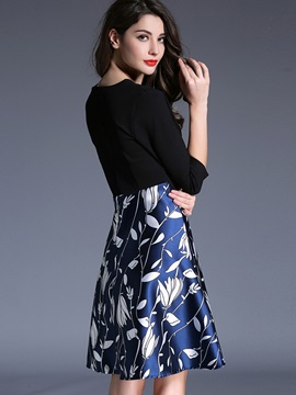 Print Three-Quarter Sleeve Expansion Skater Dress
