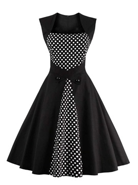 Polka Dots Patchwork Sleeveless Skater Dress