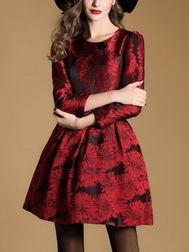 Print Nine Points Sleeve Mid-Waist Skater Dress