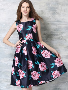 Floral Imprint Sleeveless Skater Dress