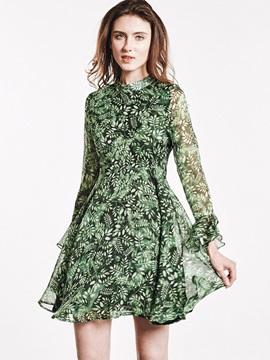 Floral Imprint Long Sleeve Chiffon Skater Dress