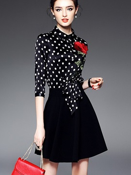 Grace Polka Dots Long Sleeve Skater Dress