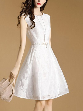 Classy Solid Color Sleeveless Skater Dress