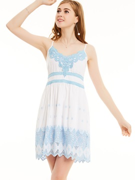 Spaghetti Strap Lace Patchwork A-Line Dress