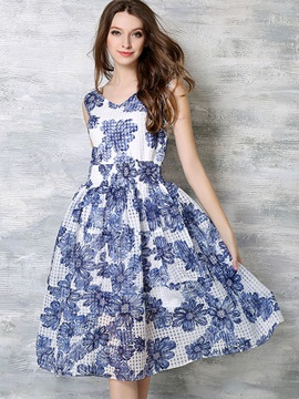 Fashion Floral Imprint Sleeveless Skater Dress
