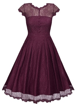 Chic Multi-colored Short Sleeve Lace Skater Dress