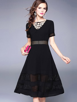 Elegant Black Short Sleeve Skater Dress