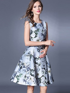 Elegant Floral Imprint Sleeveless Skater Dress