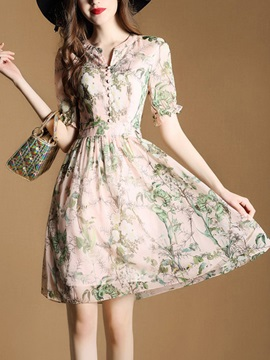 Short Sleeve Floral Imprint Women's Skater Dress