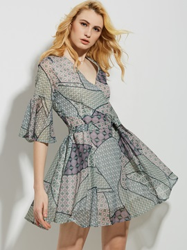 V-Neck Geometric Pattern Color Block A-Line Dress