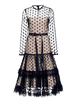 Chic Polka Dots Long Sleeve Skater Dress