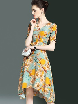 Vogue Floral Imprint Short Sleeve Women's Skater Dress
