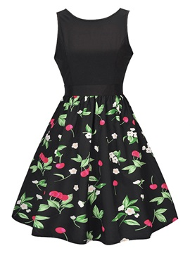 Floral Imprint Split Joint Sleeveless Skater Dress