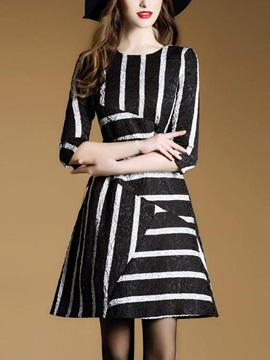 Round Neck Stripe Long Sleeve Skater Dress