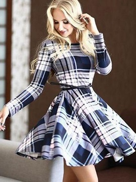 Plaid Long Sleeve Women's Skater Dress