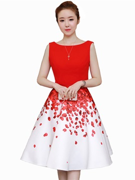 Vogue Round Neck Sleeveless Women's Skater Dress
