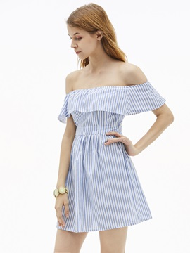 Slash Neck Stripe Backless Women's A-Line Dress