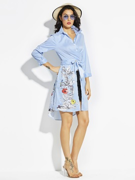Lapel Stripe Flower Print Women's A-Line Dress