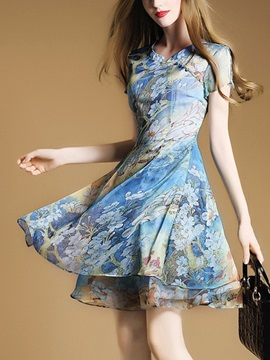Round Neck Floral Imprint Short Sleeve Skater Dress