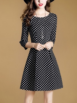 Round Neck Polka Dots Women's Skater Dress