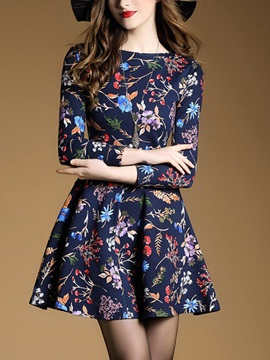 Floral Imprint Long Sleeve Women's Skater Dress