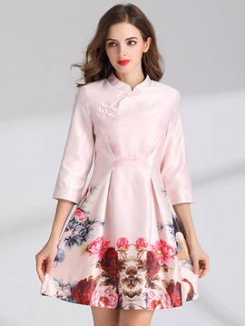 Chic Floral Imprint Half Sleeve Women's Skater Dress