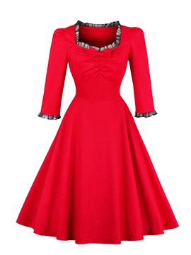 Red Half Sleeve Women's Skater Dress